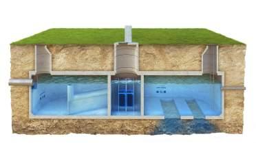 RYS.2 Przekroj zbiornika retencyjnego podczyszczajacego i rozsaczajacego
