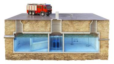 Przekroje zbiorników podczyszczających umożliwiających wykorzystanie wody do różnych celów komunalnych
